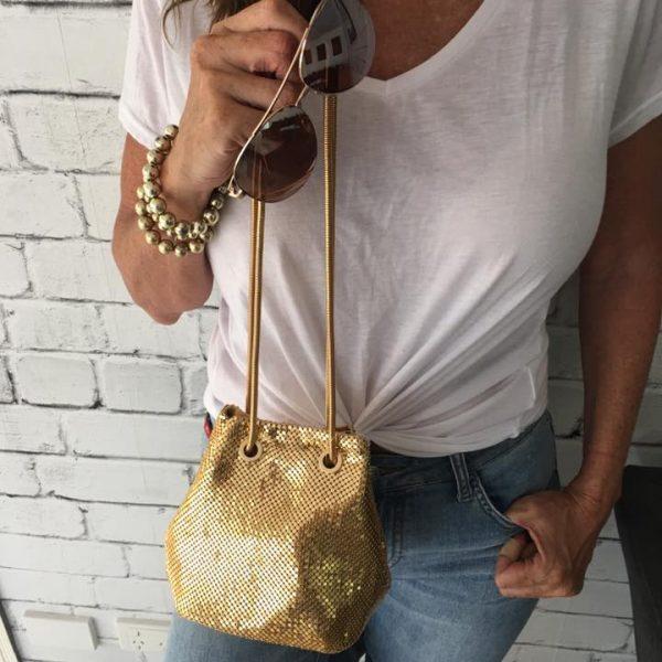 gold drawstring bag
