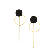 Black and Gold Ring and Bar Earrings