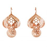 Murkani Vintage Lace Doily Large Earrings in Rose Gold Plate