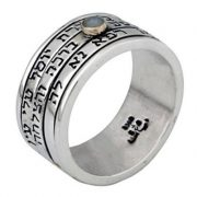Kabbalah Guardian Angels Silver Ring with Silver Sleeve Black Diamonds