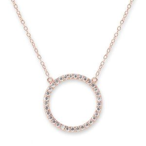 Bianc Rose Gold Cubic Zirconia Circle Necklace